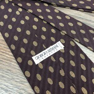 Giorgio Armani Maroon w/ Tan Polka Dot Tie